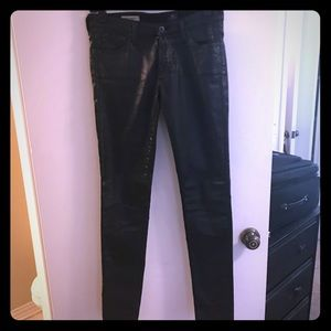 "AG ""leather looking"" skinny jeans"